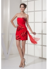 Red and Black Strapless Prom Homecoming Dress with Beading and Ruches