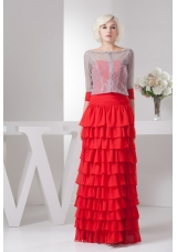 Red Floor-length Sweetheart Prom Dress with Ruffled Layers