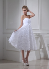 Ruche and Handle Flowers Sweetheart Rolling Flowers Bridal Dresses