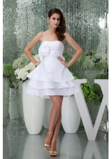 Ruffle-layers Mini-length White Wedding Dress with Handmade Flower