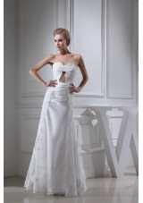 Sweetheart Lace and Taffeta Ruching Bridal Dresses in White with Hollow Out