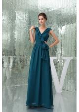Teal Floor-length V-neck Column Prom Dress with Sash