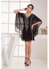 V-neck Mini Beaded Black Column Prom Dress with Fan Sleeves