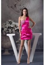 Fuchsia One Shoulder Short taffeta Prom Dress with Rhinestone