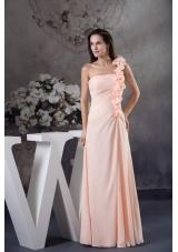 Light Pink One Shoulder Floor-length Prom Dress with Handmade Flower