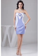 Lilac and Pattern Prom Gown Dress Decorated by Handmade   Flower
