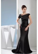 Mermaid Black Beaded Prom Dress with Asymmetrical Neck