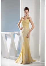 Mermaid Halter Gold Prom Dress with Appliques and Ruching