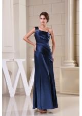 Navy Blue Beaded One Shoulder Column Ankle-length Prom Dress