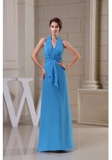 Popular Chiffon Halter Top Ankle-length Blue Prom Dress with Ruche