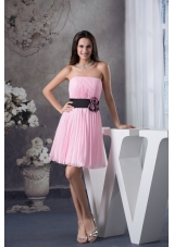 Ruching Prom Gown with Handmade Flower Decorated Black Sash