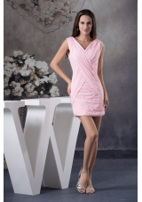 Simple Ruching Decorate V-neck Mini-length Baby Pink Prom Dress