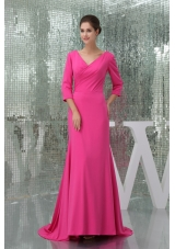 V-neck 3/4 Sleeves Hot Pink Prom Dress with Brush Train