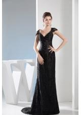 V-neck Beaded Black Lace Column Prom Dress with Brush Train