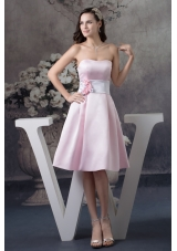 Baby Pink Sweetheart Knee-length Prom Dress with Handmade Flower