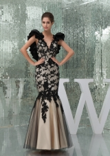 Black and Champagne Long Prom Dress with Appliques