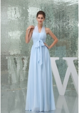 Light Blue Halter Ruches Sash Long Prom Gown Dress