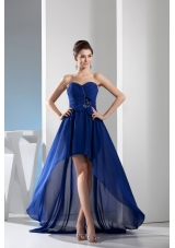 Royal Blue Sweetheart Chiffon Prom Dress with Ruching and Beading