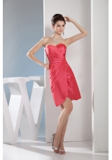 Simple Watermelon Red Sweetheart Short Prom Dress with Ruching