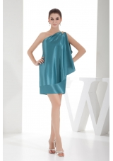 Unique Taffeta Teal One Shoulder Beaded Mini-length Prom Dress