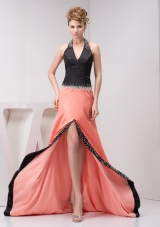 Black and Orange Halter V Neck High Low Prom Dress Evening Gowns with Beaded Details