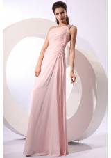 Ruched One Shoulder Pink Chiffon Long Prom Evening Dress