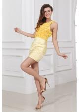 Mini-length V Neck Flowers Criss Crossed Back Prom Dresses