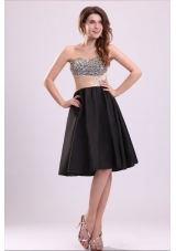 2014 Sweetheart Black Short Prom Nightclub Dress with Beads