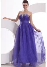 Floor Length Beading Sweetheart Purple Dress for Prom Court