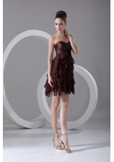 Brown Sweetheart Ruffled Chiffon A-line Prom Evening Dress