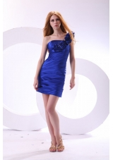 Ruched Flowers Blue Short JS Prom Dress with One Shoulder