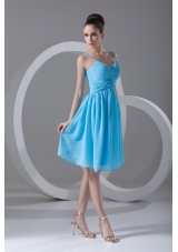 Chiffon Straps Ruched Beading Aqua Blue Prom Gown Dresses