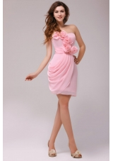 Hand Made Flowers Ruched Pink Chiffon Dress for Prom Queen