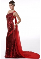 Wine Red Sequin Column JS Prom Dresses with Watteau Train