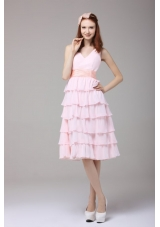 Attractive V Neck Layers Baby Pink Knee Length Prom Gowns