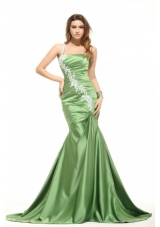 One Shoulder Ruched Mermaid Taffeta Prom Dresses in Green