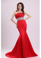 Mermaid Strapless Red Brust Train Prom Dress with Beaded Waist