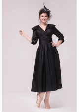 V-neck Half Sleeves Tea-length Taffeta Dresses for Prom in Black