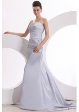 Ruching and Beading Strapless Prom Dresses with Watteau Train
