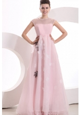 Lovely Baby Pink A-line Scoop Prom Holiday Dress with Appliques