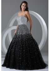 Black and Silver Puffy Organza Prom Cocktail Dress with Paillettes