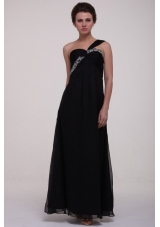 Black One Shoulder Empire Beading Chiffon Prom Holiday Dresses