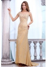 Champagne Column Beaded Brush Train Prom Dresses for Women