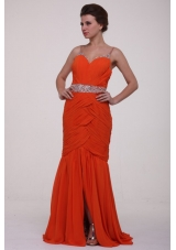 Rust Red Spaghetti Straps Ruche and Sequins Prom Dress for Girls