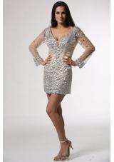 Deep V-neck Long Sheer Sleeves Mini-length Prom Party Dresses