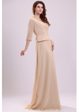 Half Sleeves V-neck A-line Champagne Chiffon Prom Formal Dress