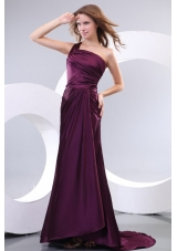 Single Shoulder Ruching Purple Prom Dresses with Sweep Train
