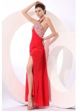 Paillettes Decorated High Slit Red Taffeta Prom Dress for Women
