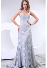 Wonderful Straps Column Lace Prom Maxi Dress with Court Train