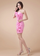 Chic Handle Flowers and Ruche Rose Pink Prom Dress for Women